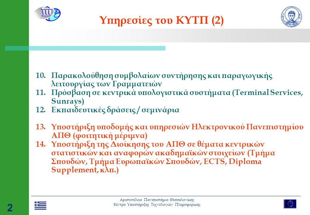 Αριστοτέλειο Πανεπιστήμιο Θεσσαλονίκης Κέντρο Υποστήριξης Τεχνολογιών Πληροφορικής 2 Υπηρεσίες του ΚΥΤΠ (2) 10.Παρακολούθηση συμβολαίων συντήρησης και παραγωγικής λειτουργίας των Γραμματειών 11.Πρόσβαση σε κεντρικά υπολογιστικά συστήματα (Terminal Services, Sunrays) 12.Εκπαιδευτικές δράσεις / σεμινάρια 13.Υποστήριξη υποδομής και υπηρεσιών Ηλεκτρονικού Πανεπιστημίου ΑΠΘ (φοιτητική μέριμνα) 14.Υποστήριξη της Διοίκησης του ΑΠΘ σε θέματα κεντρικών στατιστικών και αναφορών ακαδημαϊκών στοιχείων (Τμήμα Σπουδών, Τμήμα Ευρωπαϊκών Σπουδών, ECTS, Diploma Supplement, κλπ.)