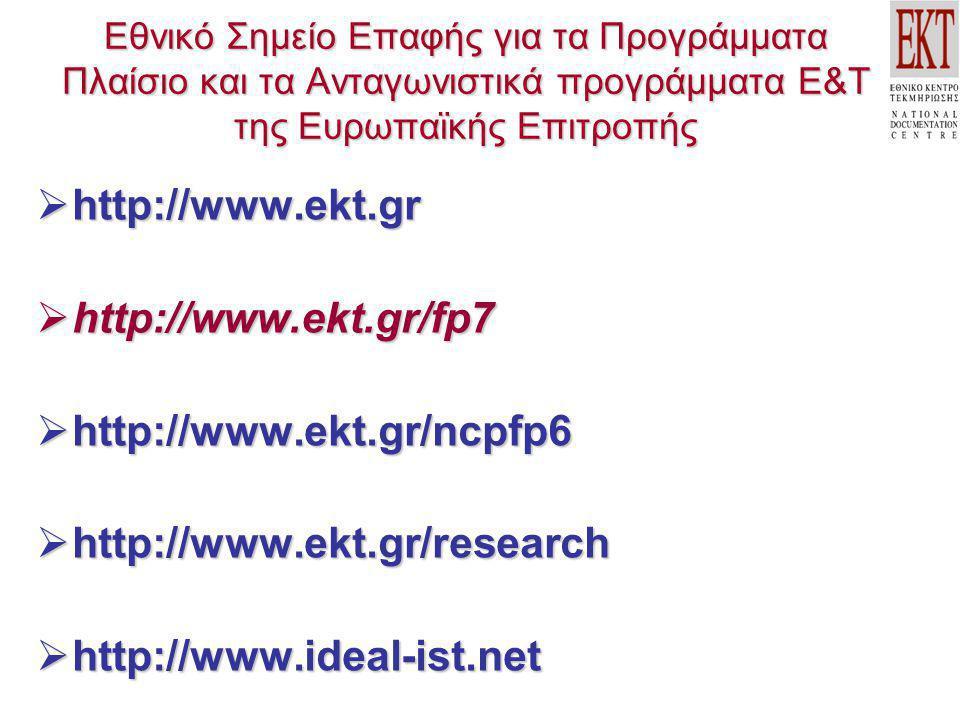 Εθνικό Σημείο Επαφής για τα Προγράμματα Πλαίσιο και τα Ανταγωνιστικά προγράμματα Ε&Τ της Ευρωπαϊκής Επιτροπής  http://www.ekt.gr  http://www.ekt.gr/