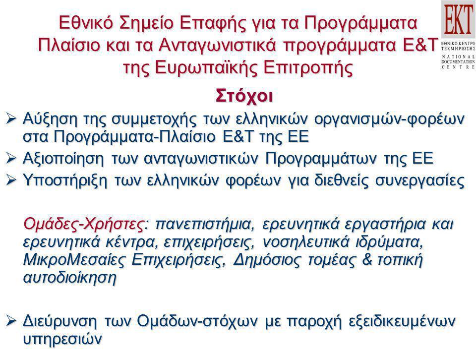 Εθνικό Σημείο Επαφής για τα Προγράμματα Πλαίσιο και τα Ανταγωνιστικά προγράμματα Ε&Τ της Ευρωπαϊκής Επιτροπής Στόχοι  Αύξηση της συμμετοχής των ελλην