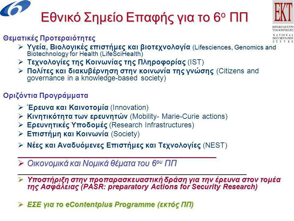 Εθνικό Σημείο Επαφής για τα Προγράμματα Πλαίσιο και τα Ανταγωνιστικά προγράμματα Ε&Τ της Ευρωπαϊκής Επιτροπής Υπηρεσίες- Δραστηριότητες (1)  Διοργάνωση ενημερωτικών εκδηλώσεων, ημερίδων, σεμιναρίων εκδηλώσεων σε συνεργασία με την ΕΕ, την ΓΓΕΤ, Ακαδημαϊκά- Ερευνητικά Ιδρύματα και άλλους φορείς  Λειτουργία Γραφείου Υποστήριξης  Υποστήριξη για την προετοιμασία πρότασης (όροι συμμετοχής, προϋποθέσεις για υποβολή προτάσεων, διαδικασίες, μέσα υλοποίησης)  Έλεγχος προτάσεων- prescreening (οικονομικά στοιχεία, τεχνικά χαρακτηριστικά)  Διακίνηση αναζητήσεων συνεργασιών και υποστήριξη για ανεύρεση εταίρων και δημιουργία κοινοπραξιών για υποβολή προτάσεων  Καθοδήγηση των ενδιαφερομένων για επικοινωνία με τις υπηρεσίες της ΕΕ  Υποστήριξη για οικονομικά και κανονιστικά/νομικά θέματα του 6 ου ΠΠ