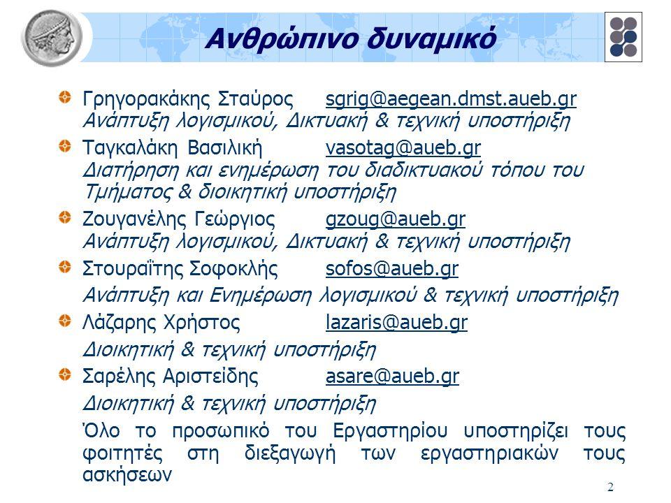 2 Ανθρώπινο δυναμικό Γρηγορακάκης Σταύρος sgrig@aegean.dmst.aueb.gr Ανάπτυξη λογισμικού, Δικτυακή & τεχνική υποστήριξη Ταγκαλάκη Βασιλικήvasotag@aueb.gr Διατήρηση και ενημέρωση του διαδικτυακού τόπου του Τμήματος & διοικητική υποστήριξη Ζουγανέλης Γεώργιοςgzoug@aueb.gr Ανάπτυξη λογισμικού, Δικτυακή & τεχνική υποστήριξη Στουραΐτης Σοφοκλήςsofos@aueb.gr Ανάπτυξη και Ενημέρωση λογισμικού & τεχνική υποστήριξη Λάζαρης Χρήστος lazaris@aueb.gr Διοικητική & τεχνική υποστήριξη Σαρέλης Αριστείδης asare@aueb.gr Διοικητική & τεχνική υποστήριξη Όλο το προσωπικό του Εργαστηρίου υποστηρίζει τους φοιτητές στη διεξαγωγή των εργαστηριακών τους ασκήσεων