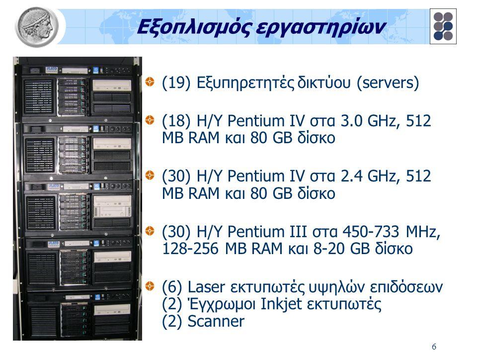 6 Εξοπλισμός εργαστηρίων (19) Εξυπηρετητές δικτύου (servers) (18) Η/Υ Pentium IV στα 3.0 GHz, 512 MB RAM και 80 GB δίσκο (30) Η/Υ Pentium IV στα 2.4 GHz, 512 MB RAM και 80 GB δίσκο (30) Η/Υ Pentium III στα 450-733 MHz, 128-256 MB RAM και 8-20 GB δίσκο (6) Laser εκτυπωτές υψηλών επιδόσεων (2) Έγχρωμοι Inkjet εκτυπωτές (2) Scanner