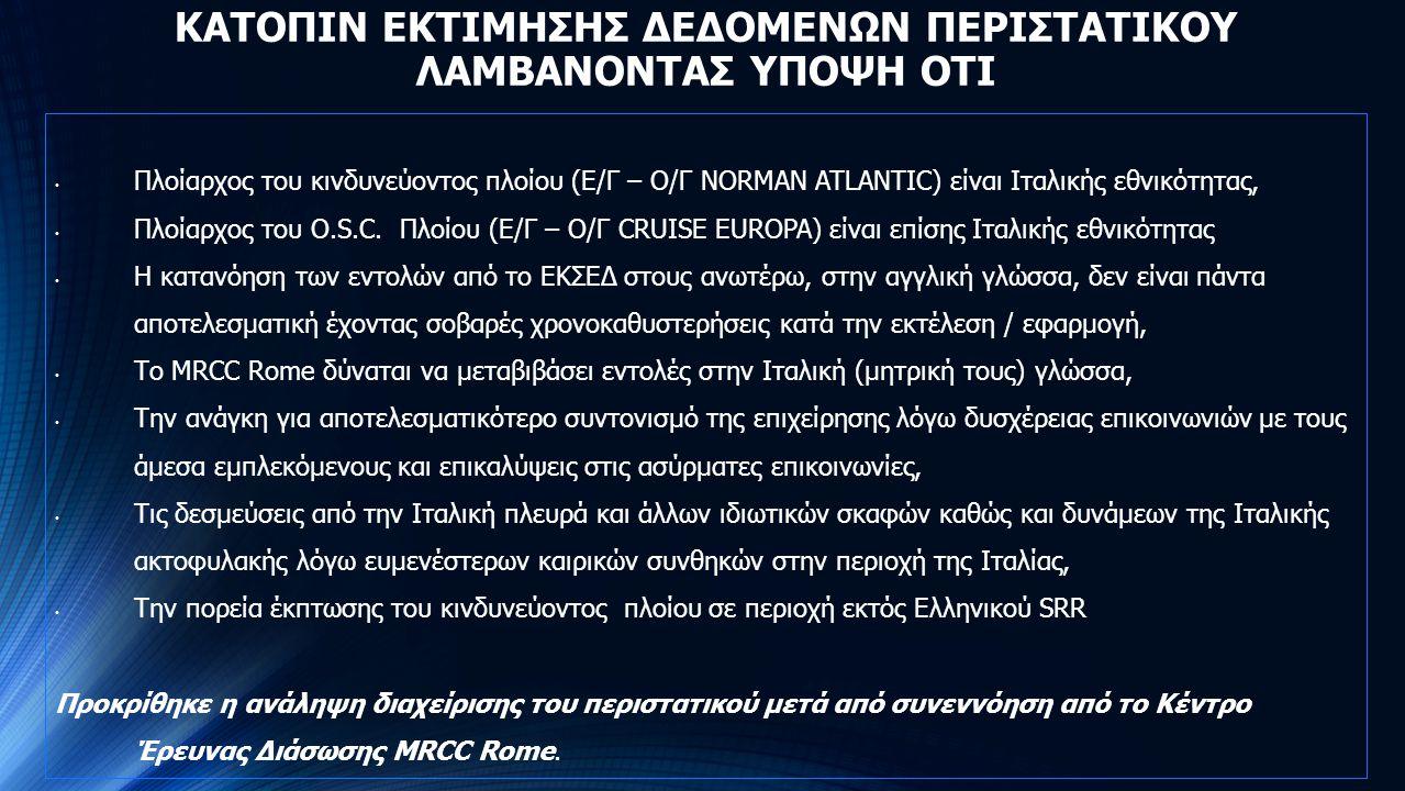 ΚΑΤΟΠΙΝ ΕΚΤΙΜΗΣΗΣ ΔΕΔΟΜΕΝΩΝ ΠΕΡΙΣΤΑΤΙΚΟΥ ΛΑΜΒΑΝΟΝΤΑΣ ΥΠΟΨΗ ΟΤΙ Πλοίαρχος του κινδυνεύοντος πλοίου (Ε/Γ – Ο/Γ NORMAN ATLANTIC) είναι Ιταλικής εθνικότητ