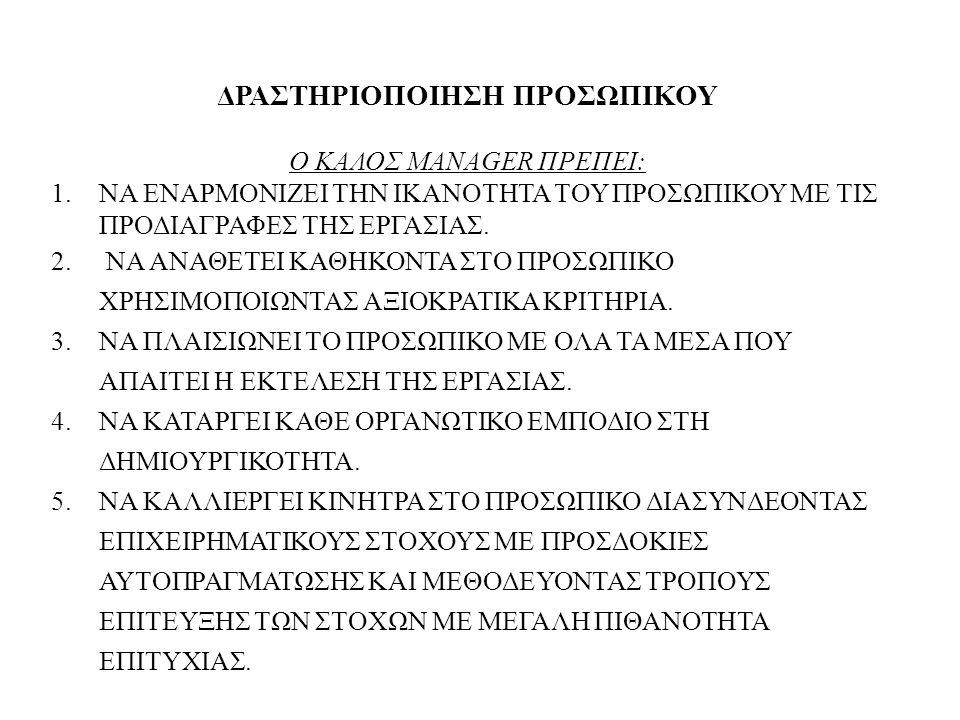 ΔΡΑΣΤΗΡΙΟΠΟΙΗΣΗ ΠΡΟΣΩΠΙΚΟΥ Ο ΚΑΛΟΣ MANAGER ΠΡΕΠΕΙ: 1.ΝΑ ΕΝΑΡΜΟΝΙΖΕΙ ΤΗΝ ΙΚΑΝΟΤΗΤΑ ΤΟΥ ΠΡΟΣΩΠΙΚΟΥ ΜΕ ΤΙΣ ΠΡΟΔΙΑΓΡΑΦΕΣ ΤΗΣ ΕΡΓΑΣΙΑΣ. 2. ΝΑ ΑΝΑΘΕΤΕΙ ΚΑΘΗ