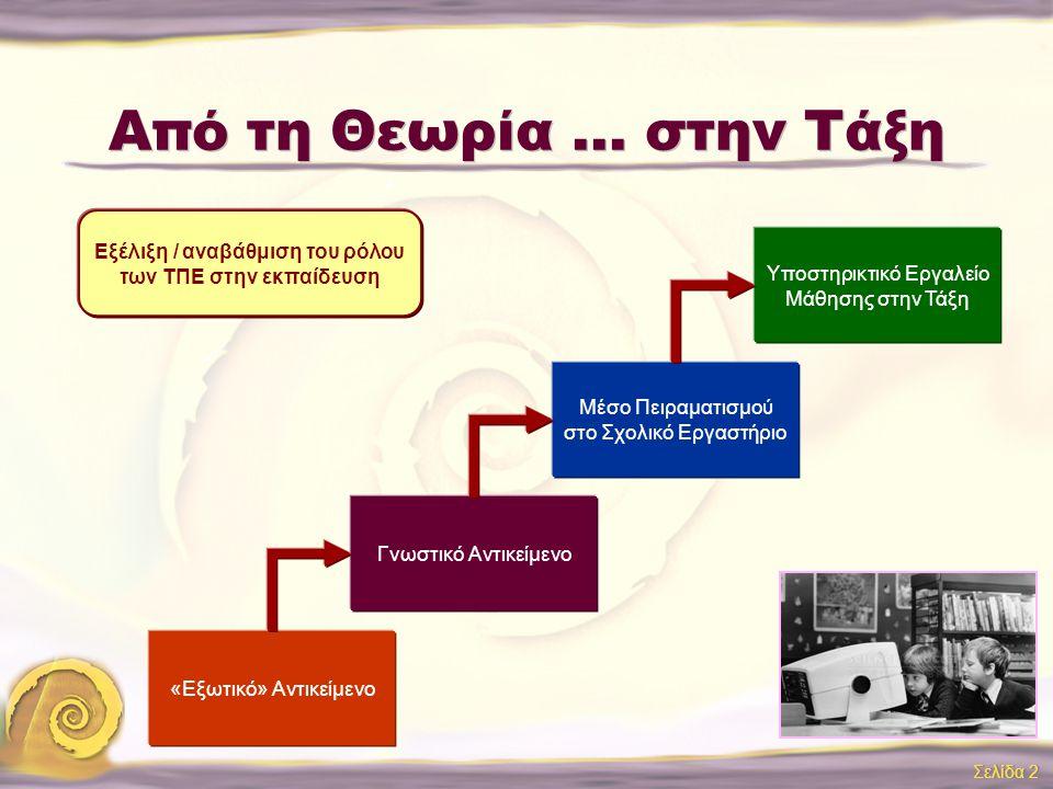 Νέες Τεχνολογίες στην Εκπαίδευση: Από τη Θεωρία... στην Τάξη 11 ο ΣΥΝΕΔΡΙΟ ΕΦΑΡΜΟΓΩΝ ΠΛΗΡΟΦΟΡΙΚΗΣ 7 Οκτωβρίου 2005 Βασιλική Κολυβά ΕΥΔ ΕΠ ΚτΠ