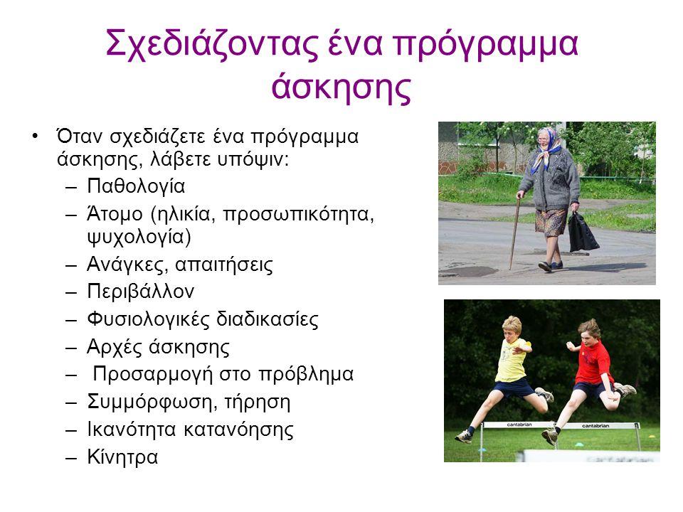 Σχεδιάζοντας ένα πρόγραμμα άσκησης Όταν σχεδιάζετε ένα πρόγραμμα άσκησης, λάβετε υπόψιν: –Παθολογία –Άτομο (ηλικία, προσωπικότητα, ψυχολογία) –Ανάγκες