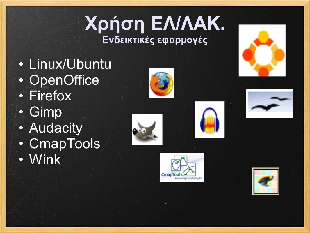 Χρήση ΕΛ/ΛΑΚ. Ενδεικτικές εφαρμογές Linux/Ubuntu OpenOffice Firefox Gimp Audacity CmapTools Wink