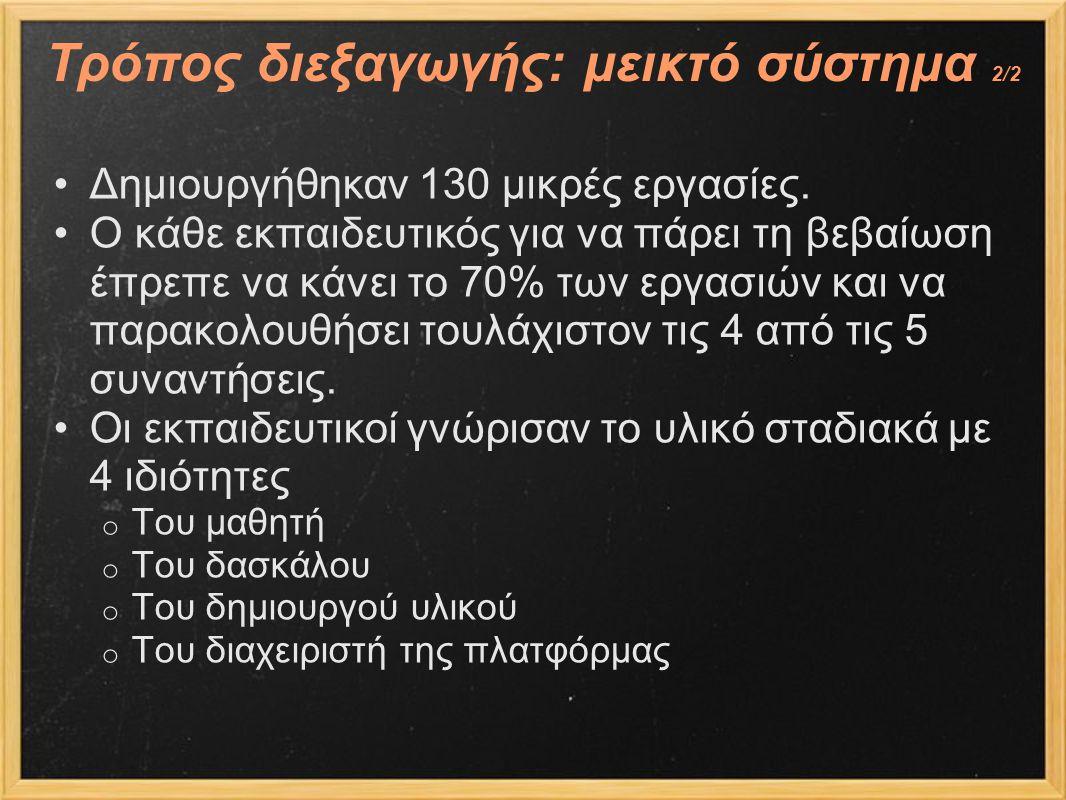 Τρόπος διεξαγωγής: μεικτό σύστημα 2/2 Δημιουργήθηκαν 130 μικρές εργασίες. Ο κάθε εκπαιδευτικός για να πάρει τη βεβαίωση έπρεπε να κάνει το 70% των εργ