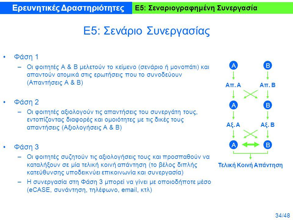 34/48 Ε5: Σεναριογραφημένη Συνεργασία Ε5: Σενάριο Συνεργασίας Φάση 1 –Οι φοιτητές Α & Β μελετούν το κείμενο (σενάριο ή μονοπάτι) και απαντούν ατομικά στις ερωτήσεις που το συνοδεύουν (Απαντήσεις Α & Β) Φάση 2 –Οι φοιτητές αξιολογούν τις απαντήσεις του συνεργάτη τους, εντοπίζοντας διαφορές και ομοιότητες με τις δικές τους απαντήσεις (Αξιολογήσεις Α & Β) Φάση 3 –Οι φοιτητές συζητούν τις αξιολογήσεις τους και προσπαθούν να καταλήξουν σε μία τελική κοινή απάντηση (το βέλος διπλής κατεύθυνσης υποδεικνύει επικοινωνία και συνεργασία) –Η συνεργασία στη Φάση 3 μπορεί να γίνει με οποιοδήποτε μέσο (eCASE, συνάντηση, τηλέφωνο, email, κτλ) Ερευνητικές Δραστηριότητες Τελική Κοινή Απάντηση Α Απ.