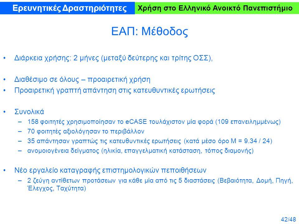 42/48 Χρήση στο Ελληνικό Ανοικτό Πανεπιστήμιο ΕΑΠ: Μέθοδος Διάρκεια χρήσης: 2 μήνες (μεταξύ δεύτερης και τρίτης ΟΣΣ), Διαθέσιμο σε όλους – προαιρετική χρήση Προαιρετική γραπτή απάντηση στις κατευθυντικές ερωτήσεις Συνολικά –158 φοιτητές χρησιμοποίησαν το eCASE τουλάχιστον μία φορά (109 επανειλημμένως) –70 φοιτητές αξιολόγησαν το περιβάλλον –35 απάντησαν γραπτώς τις κατευθυντικές ερωτήσεις (κατά μέσο όρο M = 9.34 / 24) –ανομοιογένεια δείγματος (ηλικία, επαγγελματική κατάσταση, τόπος διαμονής) Νέο εργαλείο καταγραφής επιστημολογικών πεποιθήσεων –2 ζεύγη αντίθετων προτάσεων για κάθε μία από τις 5 διαστάσεις (Βεβαιότητα, Δομή, Πηγή, Έλεγχος, Ταχύτητα) Ερευνητικές Δραστηριότητες