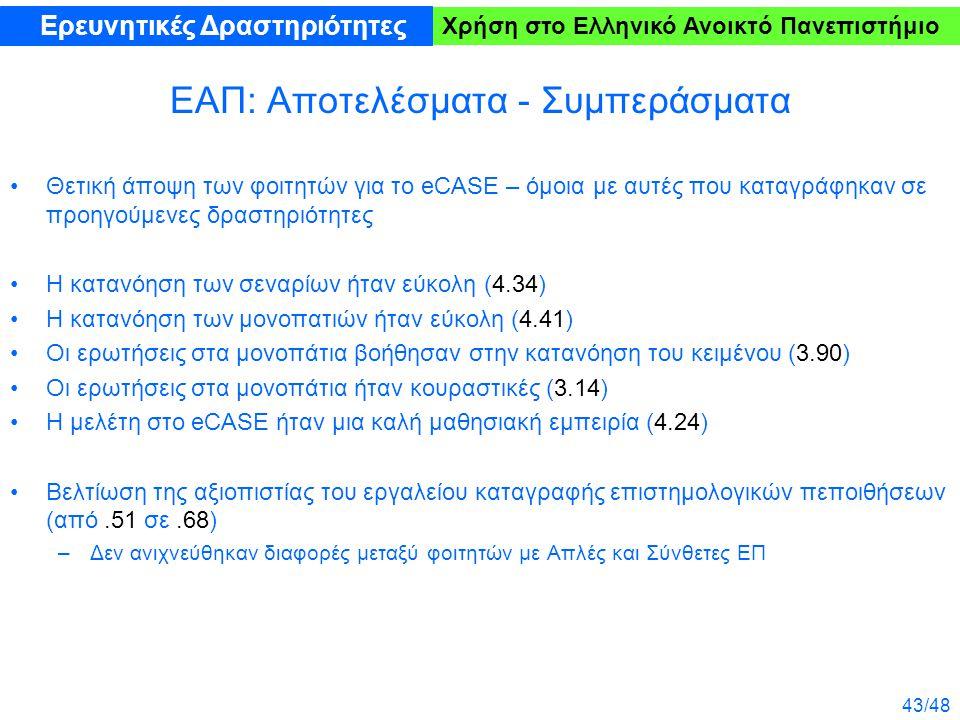 43/48 Χρήση στο Ελληνικό Ανοικτό Πανεπιστήμιο ΕΑΠ: Αποτελέσματα - Συμπεράσματα Θετική άποψη των φοιτητών για το eCASE – όμοια με αυτές που καταγράφηκαν σε προηγούμενες δραστηριότητες Η κατανόηση των σεναρίων ήταν εύκολη (4.34) Η κατανόηση των μονοπατιών ήταν εύκολη (4.41) Οι ερωτήσεις στα μονοπάτια βοήθησαν στην κατανόηση του κειμένου (3.90) Οι ερωτήσεις στα μονοπάτια ήταν κουραστικές (3.14) Η μελέτη στο eCASE ήταν μια καλή μαθησιακή εμπειρία (4.24) Βελτίωση της αξιοπιστίας του εργαλείου καταγραφής επιστημολογικών πεποιθήσεων (από.51 σε.68) –Δεν ανιχνεύθηκαν διαφορές μεταξύ φοιτητών με Απλές και Σύνθετες ΕΠ Ερευνητικές Δραστηριότητες