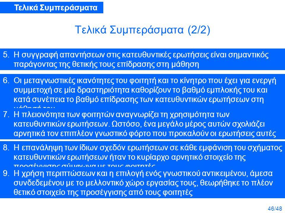 46/48 Τελικά Συμπεράσματα (2/2) 5.Η συγγραφή απαντήσεων στις κατευθυντικές ερωτήσεις είναι σημαντικός παράγοντας της θετικής τους επίδρασης στη μάθηση