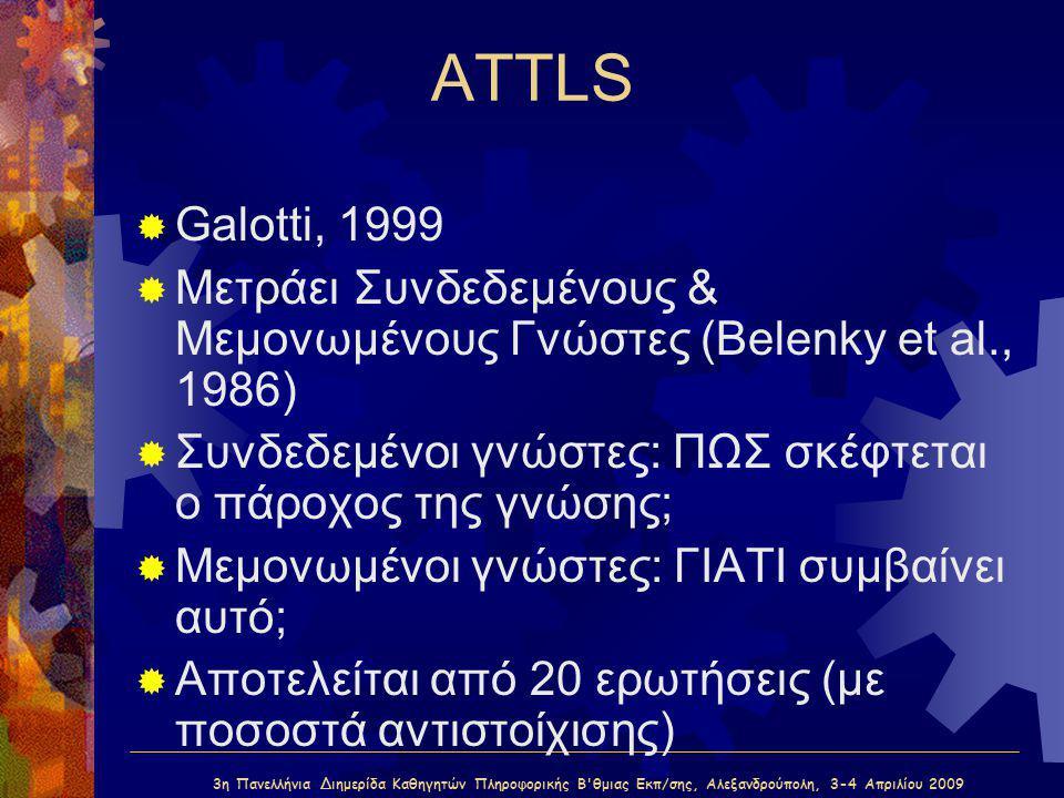 3η Πανελλήνια Διημερίδα Καθηγητών Πληροφορικής Β'θμιας Εκπ/σης, Αλεξανδρούπολη, 3-4 Απριλίου 2009 ATTLS  Galotti, 1999  Μετράει Συνδεδεμένους & Μεμο