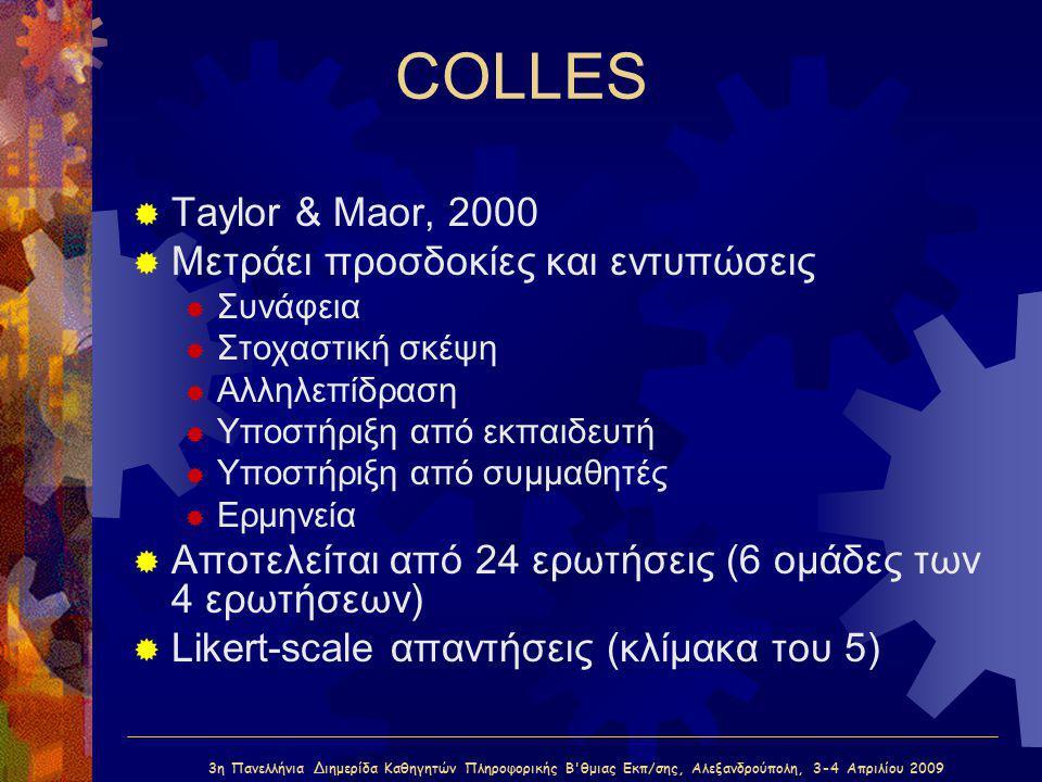 3η Πανελλήνια Διημερίδα Καθηγητών Πληροφορικής Β'θμιας Εκπ/σης, Αλεξανδρούπολη, 3-4 Απριλίου 2009 COLLES  Taylor & Maor, 2000  Μετράει προσδοκίες κα