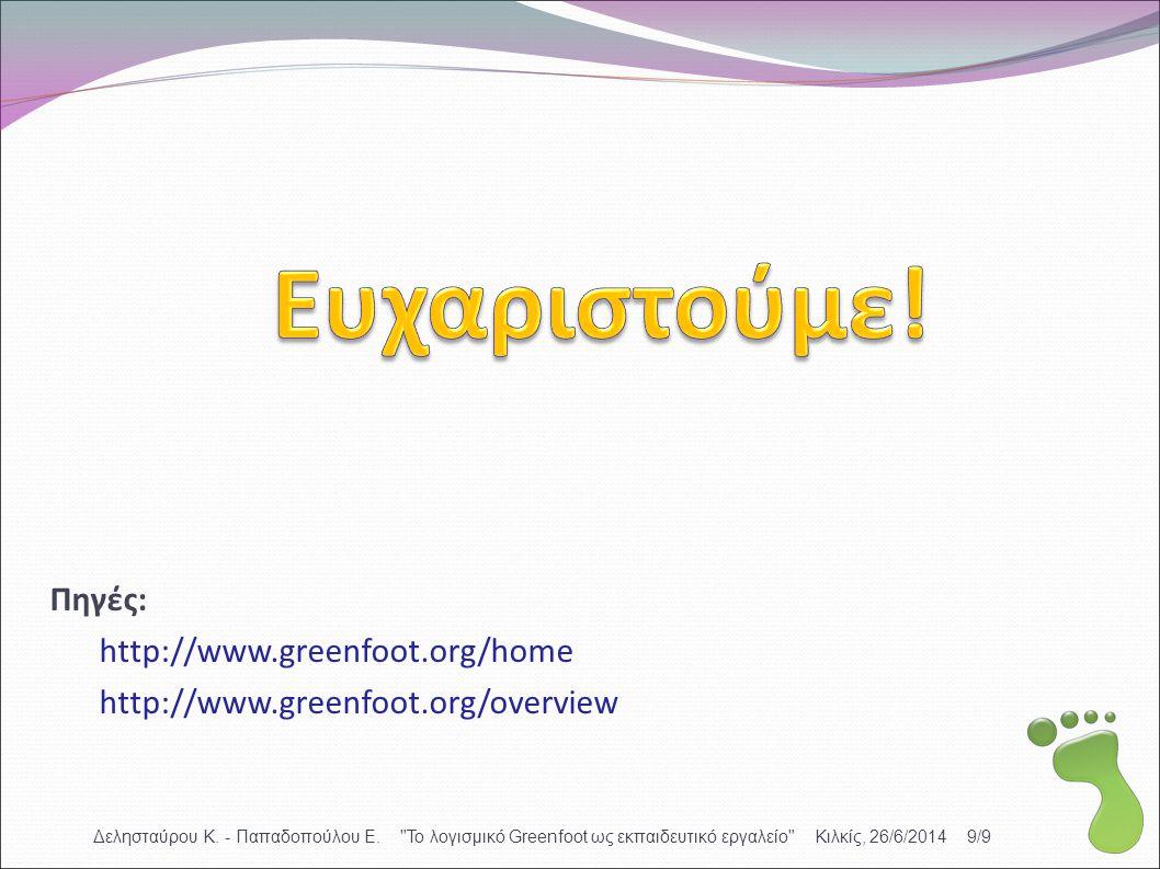 Πηγές: http://www.greenfoot.org/home http://www.greenfoot.org/overview Δελησταύρου Κ. - Παπαδοπούλου Ε.