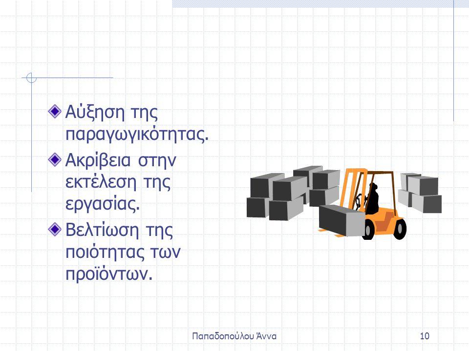 Παπαδοπούλου Άννα9 Η βιομηχανία έχει ενσωματώσει την ηλεκτ. τεχν. στην παραγωγή. Απαλλαγή του εργατικού δυναμικού από δύσκολες και επικίνδυνες εργασίε