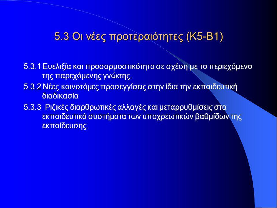 5.3 Οι νέες προτεραιότητες (Κ5-Β1) 5.3.1 Ευελιξία και προσαρμοστικότητα σε σχέση με το περιεχόμενο της παρεχόμενης γνώσης.
