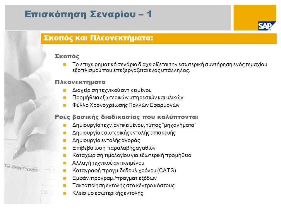 Επισκόπηση Σεναρίου – 2 Απαιτείται Το πακέτο βελτίωσης 4 του SAP για SAP ERP 6.0 Ρόλοι εταιρίας στις ροές διαδικασίας Εργαζόμενος Συντήρησης Αγοραστής Υπάλληλος Αποθήκης Λογιστής Πληρωτέων Λογ/σμών Εφαρμογές SAP που Απαιτούνται: