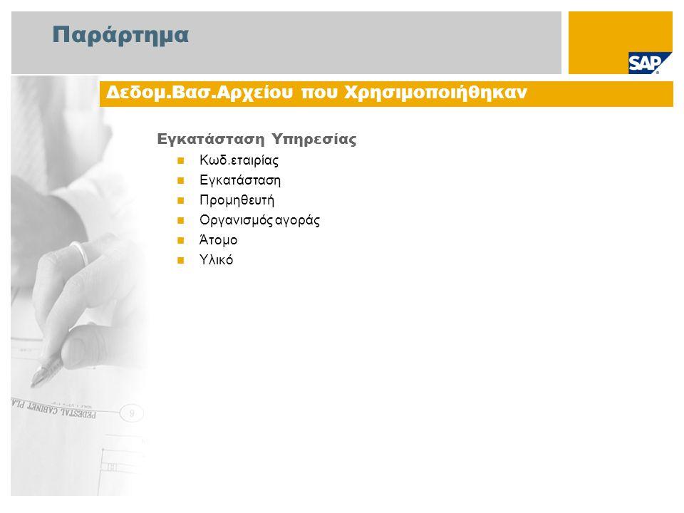 Παράρτημα Εγκατάσταση Υπηρεσίας Κωδ.εταιρίας Εγκατάσταση Προμηθευτή Οργανισμός αγοράς Άτομο Υλικό Δεδομ.Βασ.Αρχείου που Χρησιμοποιήθηκαν
