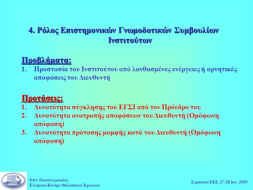 Ινστ. Ωκεανογραφίας Ελληνικό Κέντρο Θαλάσσιων Ερευνών Συμπόσιο ΕΕΕ, 27-28 Ιαν.