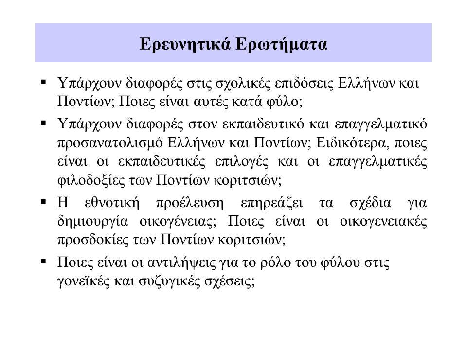 Ερευνητικά Ερωτήματα  Υπάρχουν διαφορές στις σχολικές επιδόσεις Ελλήνων και Ποντίων; Ποιες είναι αυτές κατά φύλο;  Υπάρχουν διαφορές στον εκπαιδευτικό και επαγγελματικό προσανατολισμό Ελλήνων και Ποντίων; Ειδικότερα, ποιες είναι οι εκπαιδευτικές επιλογές και οι επαγγελματικές φιλοδοξίες των Ποντίων κοριτσιών;  Η εθνοτική προέλευση επηρεάζει τα σχέδια για δημιουργία οικογένειας; Ποιες είναι οι οικογενειακές προσδοκίες των Ποντίων κοριτσιών;  Ποιες είναι οι αντιλήψεις για το ρόλο του φύλου στις γονεϊκές και συζυγικές σχέσεις;