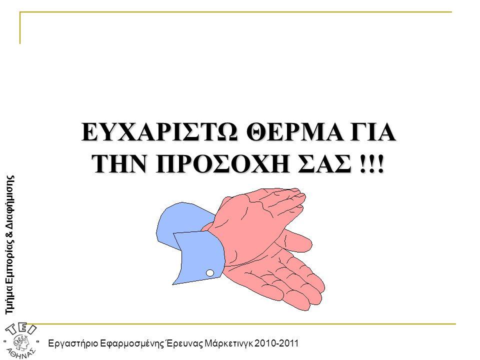 Τμήμα Εμπορίας & Διαφήμισης Εργαστήριο Εφαρμοσμένης Έρευνας Μάρκετινγκ 2010-2011 ΕΥΧΑΡΙΣΤΩ ΘΕΡΜΑ ΓΙΑ ΤΗΝ ΠΡΟΣΟΧΗ ΣΑΣ !!!