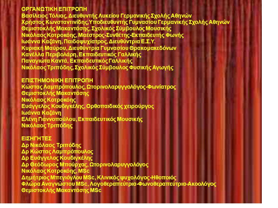 ΠΡΟΓΡΑΜΜΑ 18.00-18.30 Εγγραφές Α΄ Μέρος 18.30-18.45 Χαιρετισμοί 18.45-19.00 Τα χρώματα, Νικόλαος Τριπόδης 19.00-19.15 Ανατομία της φωνής-κίνδυνοι-πρόληψη, Κώστας Λαμπρόπουλος 19.15-19.30 Ο μηχανισμός της αναπνοής και η ορθοπαιδική υποστήριξη της φωνής στην εκφορά του λόγου και στο τραγούδι, Ευάγγελος Κουδιγκέλης 19.30-19.45 Χορωδία 19.45-20.00 Διάλειμμα, καφές Β΄ Μέρος 20.00-20.15 Παθήσεις-Φάρμακα και η επίδραση τους στην φωνή, Θεόδωρος Μπούρχας, 20.15-20.30 Τεχνική της φώνησης-υγεία της φωνής, Νικόλαος Κοτροκόης 20.30-20.45 Κατάχρηση της φωνής στους εκπαιδευτικούς: μία ολιστική προσέγγιση, Δημήτριος Μπεγιόγλου με τους ηθοποιούς Μαριλίζα Χρονέα, Χρήστο Θεοχαρόπουλο και Γόνη Λούκα 20.45-21.00 Φωνοθεραπεία και υγιεινή φωνή, Φλώρα Αναγνώστου 21.00-21.15 Η τοποθέτηση της φωνής του εκπαιδευτικού ως μέσo για την ανάπτυξη της ευφυΐας του μαθητή, Θεμιστοκλής Μακαντάσης Λήξη ημερίδας Θα δοθούν βεβαιώσεις συμμετοχής Νικόλαος Τριπόδης Σχολικός Σύμβουλος Φυσικής Αγωγής