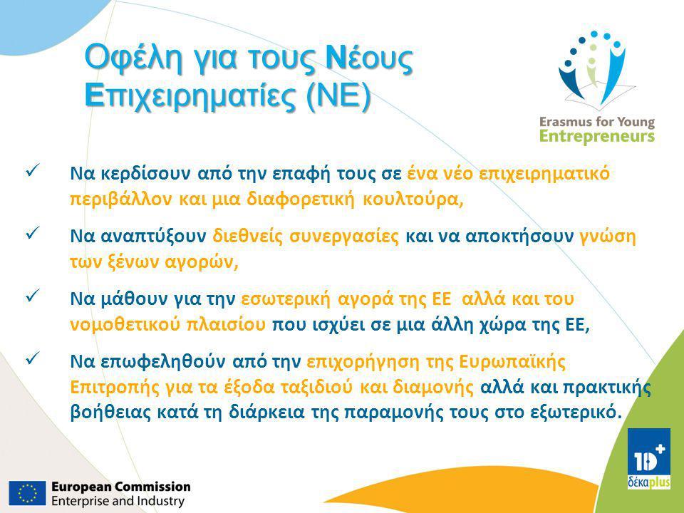 Οφέλη για τους Νέους Επιχειρηματίες (NE) Να κερδίσουν από την επαφή τους σε ένα νέο επιχειρηματικό περιβάλλον και μια διαφορετική κουλτούρα, Να αναπτύ