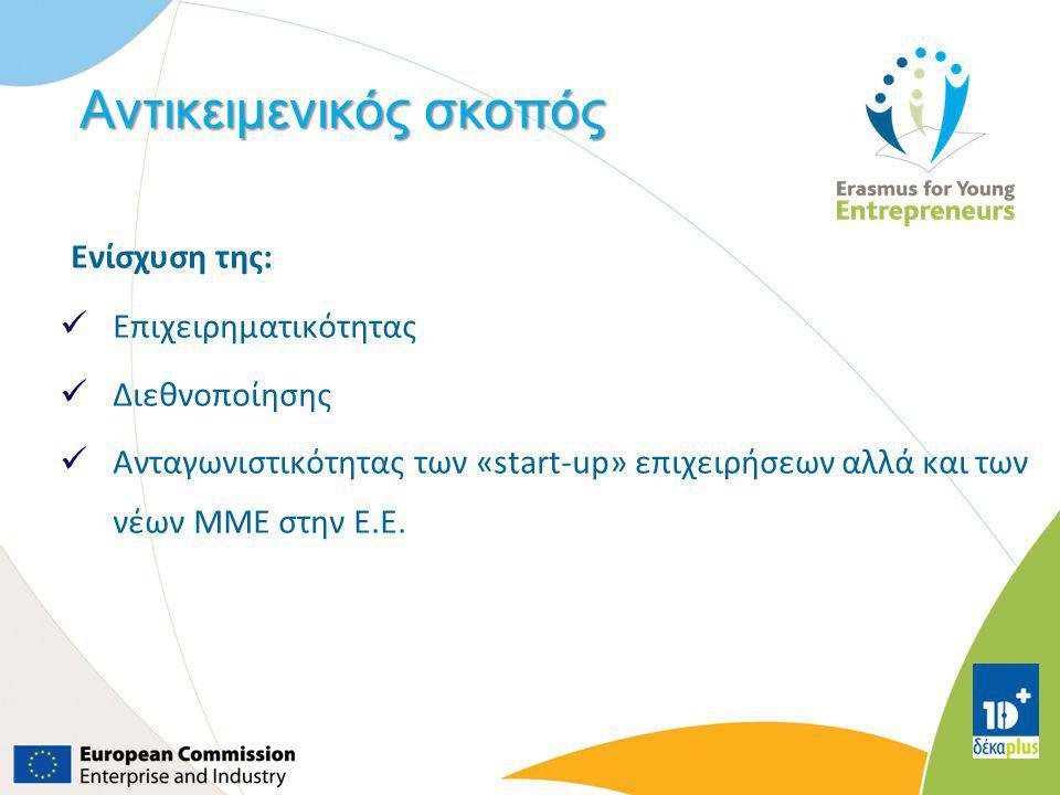 Αντικειμενικός σκοπός Ενίσχυση της: Επιχειρηματικότητας Διεθνοποίησης Ανταγωνιστικότητας των «start-up» επιχειρήσεων αλλά και των νέων ΜΜΕ στην Ε.Ε.