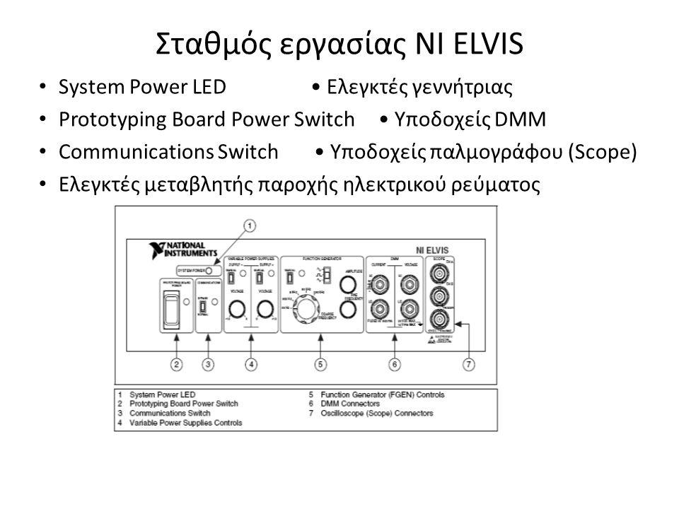 Σταθμός εργασίας ΝΙ ELVIS System Power LED Ελεγκτές γεννήτριας Prototyping Board Power Switch Υποδοχείς DMM Communications Switch Υποδοχείς παλμογράφο