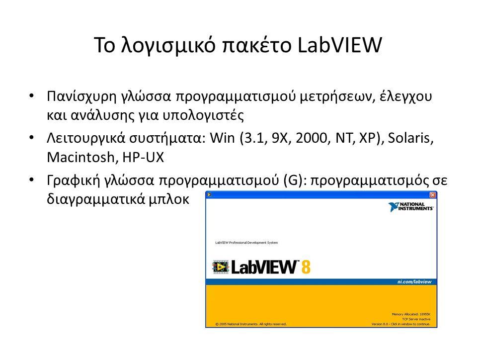 Το λογισμικό πακέτο LabVIEW Πανίσχυρη γλώσσα προγραμματισμού μετρήσεων, έλεγχου και ανάλυσης για υπολογιστές Λειτουργικά συστήματα: Win (3.1, 9Χ, 2000