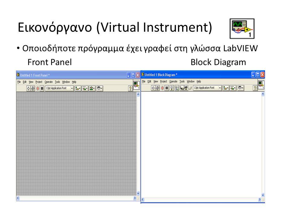 Εικονόργανο (Virtual Instrument) Οποιοδήποτε πρόγραμμα έχει γραφεί στη γλώσσα LabVIEW Front PanelBlock Diagram