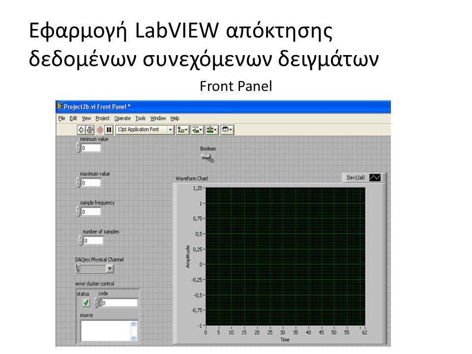 Εφαρμογή LabVIEW απόκτησης δεδομένων συνεχόμενων δειγμάτων Front Panel