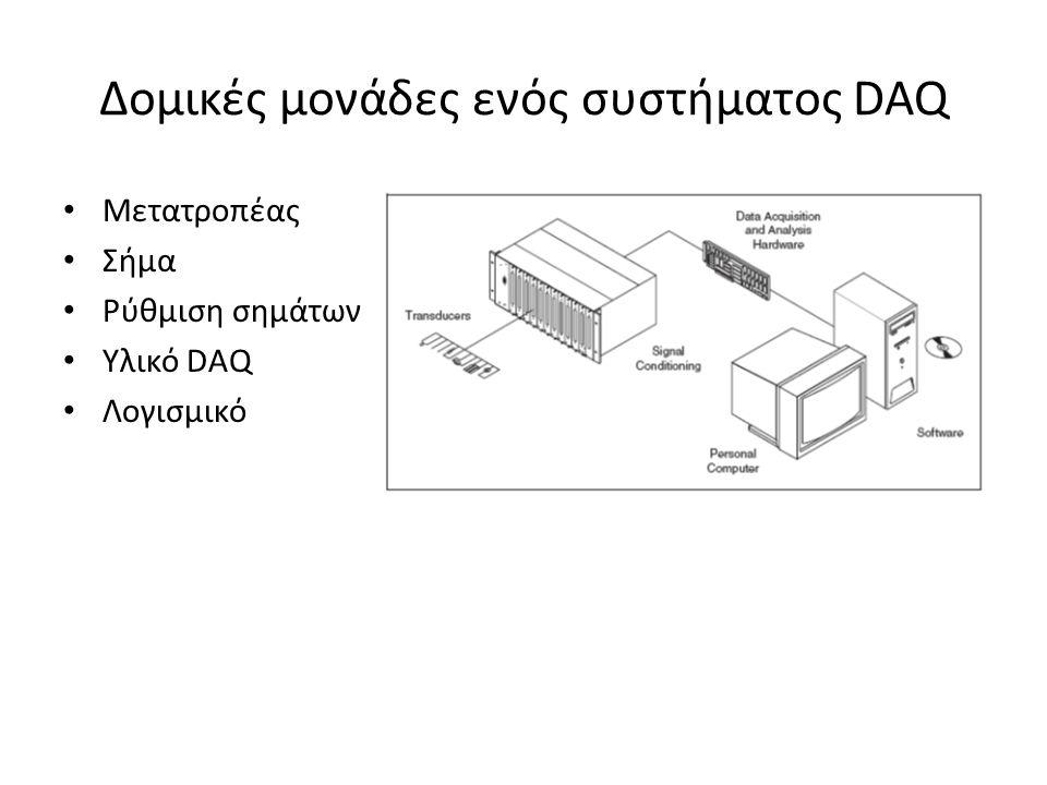 Δομικές μονάδες ενός συστήματος DAQ Μετατροπέας Σήμα Ρύθμιση σημάτων Υλικό DAQ Λογισμικό