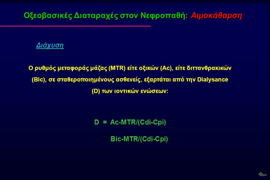 Οξεοβασικές Διαταραχές στον Νεφροπαθή: Αιμοκάθαρση Διάχυση Ο ρυθμός μεταφοράς μάζας (MTR) είτε οξικών (Ac), είτε διττανθρακικών (Bic), σε σταθεροποιημ