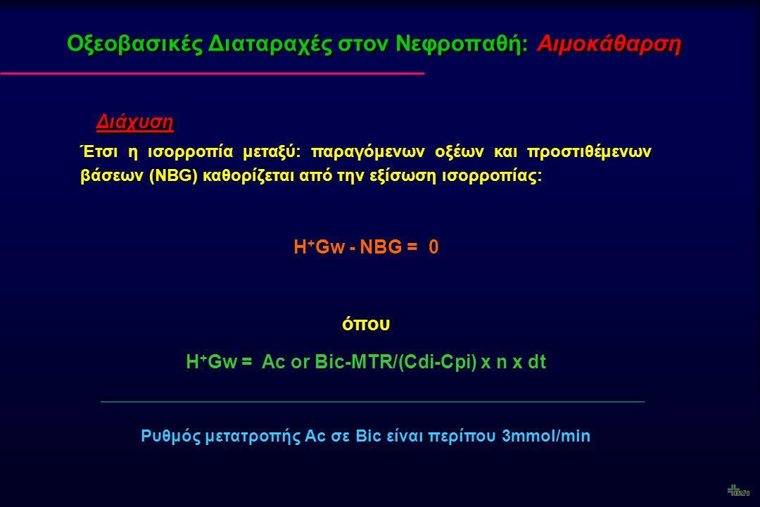 Οξεοβασικές Διαταραχές στον Νεφροπαθή: Αιμοκάθαρση Διάχυση Έτσι η ισορροπία μεταξύ: παραγόμενων οξέων και προστιθέμενων βάσεων (NBG) καθορίζεται από τ