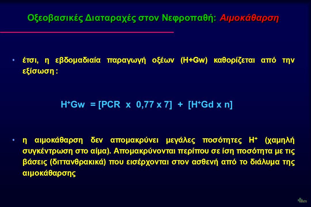Οξεοβασικές Διαταραχές στον Νεφροπαθή: Αιμοδιήθηση BL Η ολική απώλεια βάσεων μέσω του υπερδιηθήματος (Uf) καθορίζεται από το άθροισμα: BL = [HCO 3 ] - t + [Ac - ] t + [OAn - ] t Όπου: [HCO 3 ] - t = Uf (L) x [HCO 3 ] - uf (mEq/L) [Ac - ] t = Uf (L) x [Ac - ] uf (mEq/L) [OAn - ] t = Uf (L) x [OAn - ] uf (mEq/L)