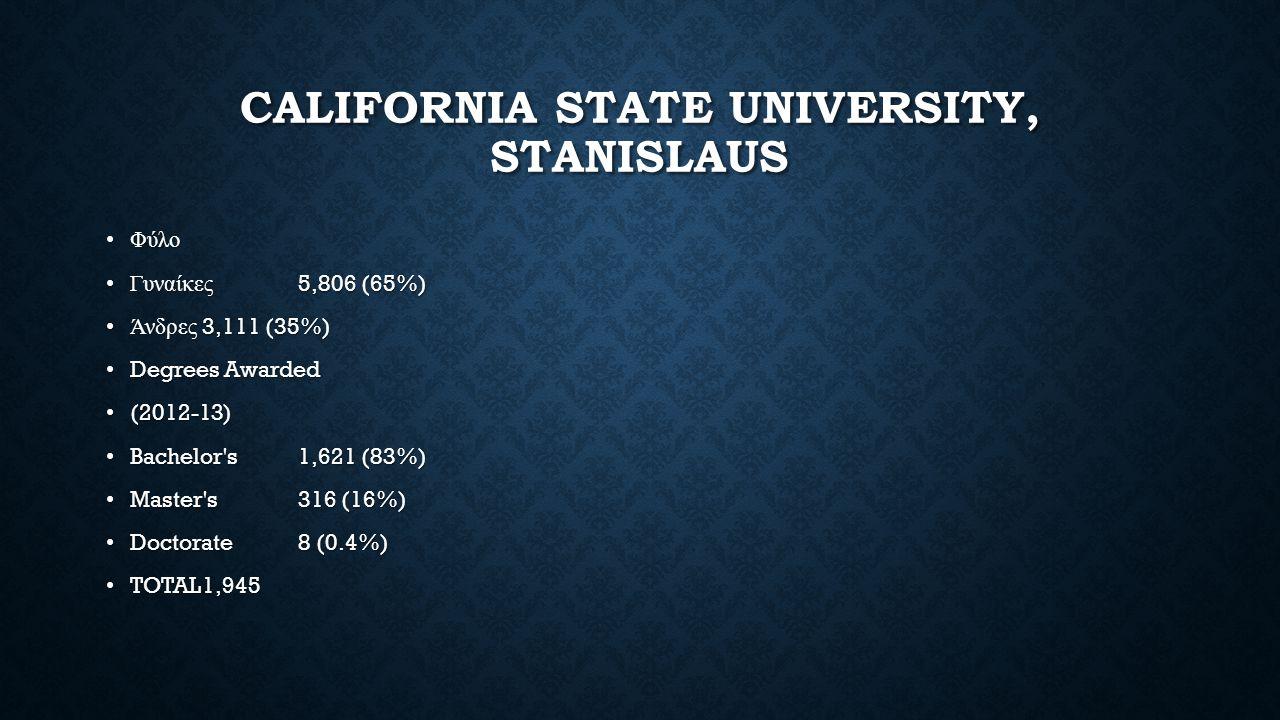 CALIFORNIA STATE UNIVERSITY, STANISLAUS ΦύλοΦύλο Γυναίκες 5,806 (65%)Γυναίκες 5,806 (65%) Άνδρες 3,111 (35%)Άνδρες 3,111 (35%) Degrees Awarded Degrees Awarded (2012-13) (2012-13) Bachelor s1,621 (83%) Bachelor s1,621 (83%) Master s316 (16%) Master s316 (16%) Doctorate8 (0.4%) Doctorate8 (0.4%) TOTAL1,945 TOTAL1,945