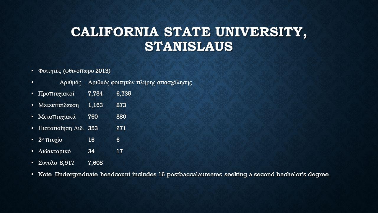 CALIFORNIA STATE UNIVERSITY, STANISLAUS Φοιτητές ( φθινό π ωρο 2013)Φοιτητές ( φθινό π ωρο 2013) ΑριθμόςΑριθμός φοιτητών π λήρης α π ασχόλησης ΑριθμόςΑριθμός φοιτητών π λήρης α π ασχόλησης Προ π τυχιακοί 7,7546,735Προ π τυχιακοί 7,7546,735 Μετεκ π αίδευση 1,163873Μετεκ π αίδευση 1,163873 Μετα π τυχιακά 760580Μετα π τυχιακά 760580 Πιστο π οίηση Διδ.353271Πιστο π οίηση Διδ.353271 2 ο π τυχίο 166 2 ο π τυχίο 166 Διδακτορικό 3417Διδακτορικό 3417 Συνολο 8,9177,608Συνολο 8,9177,608 Note.