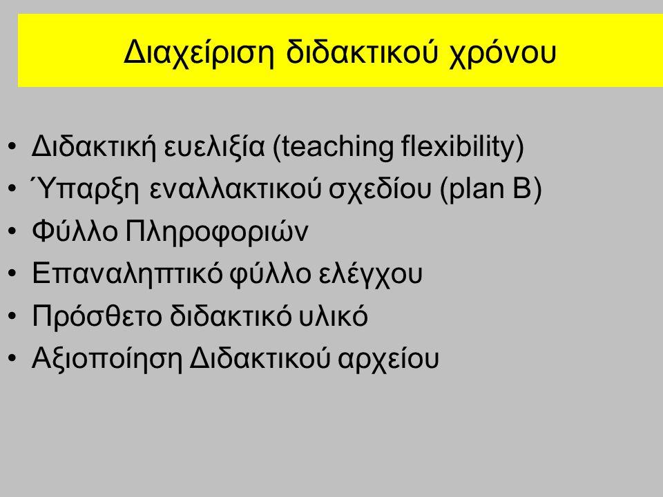 Διαχείριση διδακτικού χρόνου Διδακτική ευελιξία (teaching flexibility) Ύπαρξη εναλλακτικού σχεδίου (plan B) Φύλλο Πληροφοριών Επαναληπτικό φύλλο ελέγχ