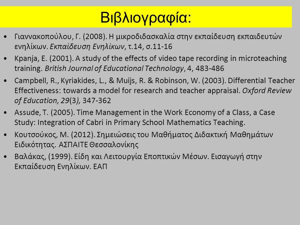 Βιβλιογραφία: Γιαννακοπούλου, Γ. (2008). Η μικροδιδασκαλία στην εκπαίδευση εκπαιδευτών ενηλίκων. Εκπαίδευση Ενηλίκων, τ.14, σ.11-16 Kpanja, E. (2001).