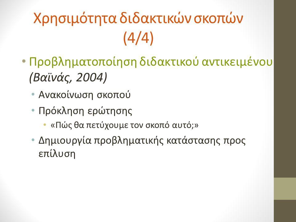 Χρησιμότητα διδακτικών σκοπών (4/4) Προβληματοποίηση διδακτικού αντικειμένου (Βαϊνάς, 2004) Ανακοίνωση σκοπού Πρόκληση ερώτησης «Πώς θα πετύχουμε τον σκοπό αυτό;» Δημιουργία προβληματικής κατάστασης προς επίλυση