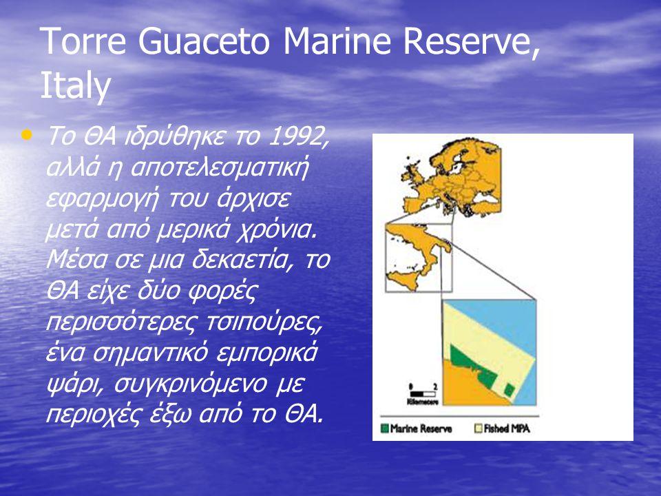Torre Guaceto Marine Reserve, Italy Το ΘΑ ιδρύθηκε το 1992, αλλά η αποτελεσματική εφαρμογή του άρχισε μετά από μερικά χρόνια. Μέσα σε μια δεκαετία, το