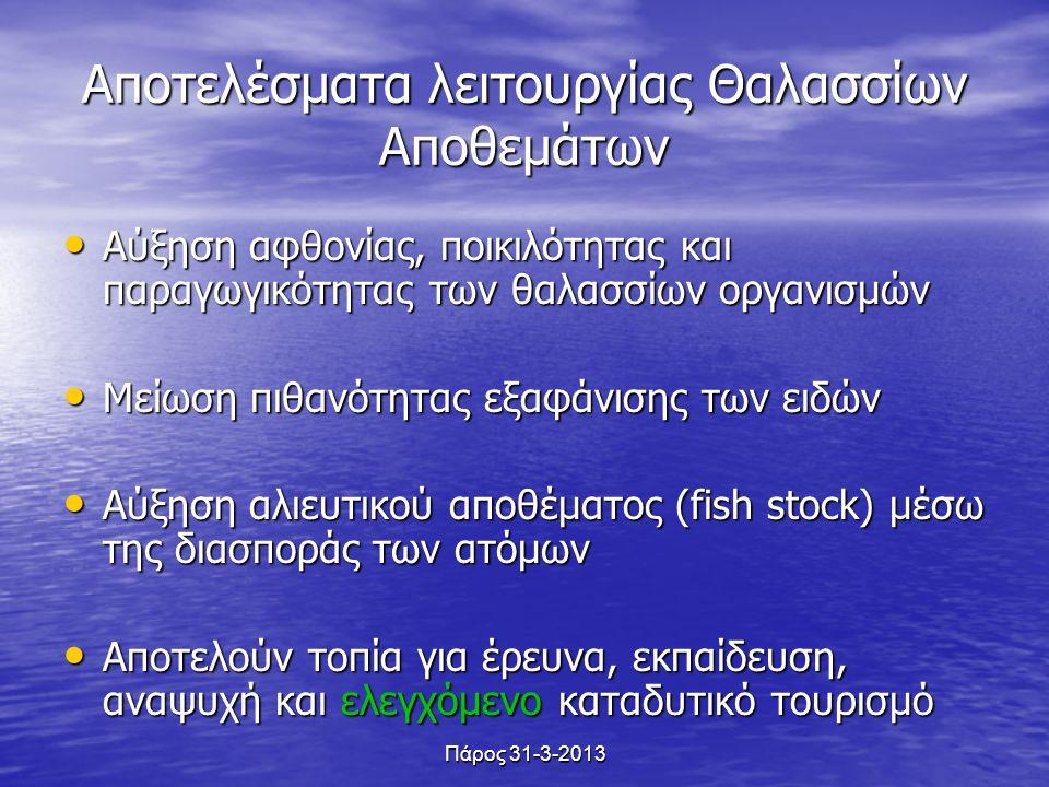 Αποτελέσματα λειτουργίας Θαλασσίων Αποθεμάτων Αύξηση αφθονίας, ποικιλότητας και παραγωγικότητας των θαλασσίων οργανισμών Αύξηση αφθονίας, ποικιλότητας και παραγωγικότητας των θαλασσίων οργανισμών Μείωση πιθανότητας εξαφάνισης των ειδών Μείωση πιθανότητας εξαφάνισης των ειδών Αύξηση αλιευτικού αποθέματος (fish stock) μέσω της διασποράς των ατόμων Αύξηση αλιευτικού αποθέματος (fish stock) μέσω της διασποράς των ατόμων Αποτελούν τοπία για έρευνα, εκπαίδευση, αναψυχή και ελεγχόμενο καταδυτικό τουρισμό Αποτελούν τοπία για έρευνα, εκπαίδευση, αναψυχή και ελεγχόμενο καταδυτικό τουρισμό Πάρος 31-3-2013