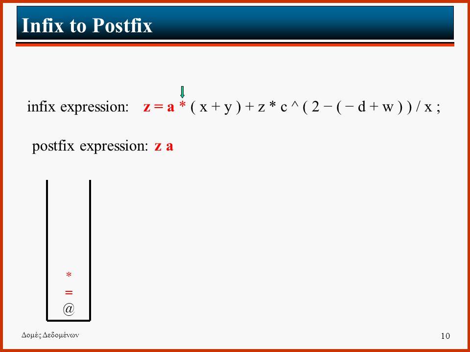 Δομές Δεδομένων 10 Infix to Postfix infix expression: z = a * ( x + y ) + z * c ^ ( 2 − ( − d + w ) ) / x ; postfix expression: z a *=@*=@