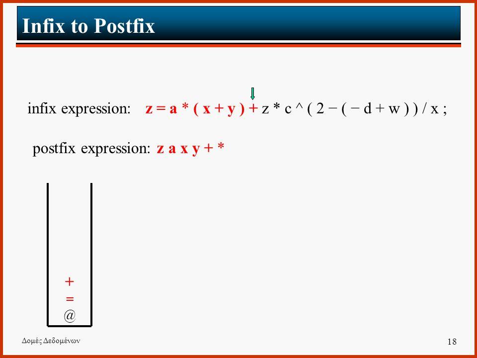 Δομές Δεδομένων 18 Infix to Postfix infix expression: z = a * ( x + y ) + z * c ^ ( 2 − ( − d + w ) ) / x ; postfix expression: z a x y + * +=@+=@