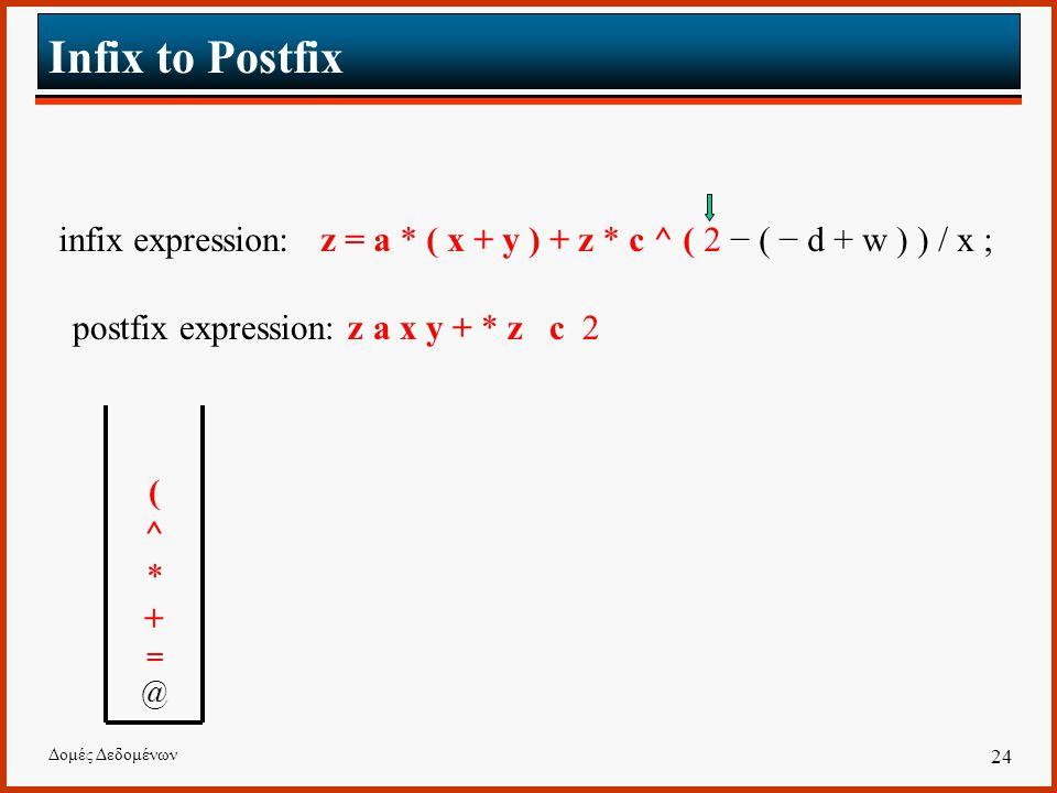 Δομές Δεδομένων 24 Infix to Postfix infix expression: z = a * ( x + y ) + z * c ^ ( 2 − ( − d + w ) ) / x ; postfix expression: z a x y + * z c 2 (^*+=@(^*+=@