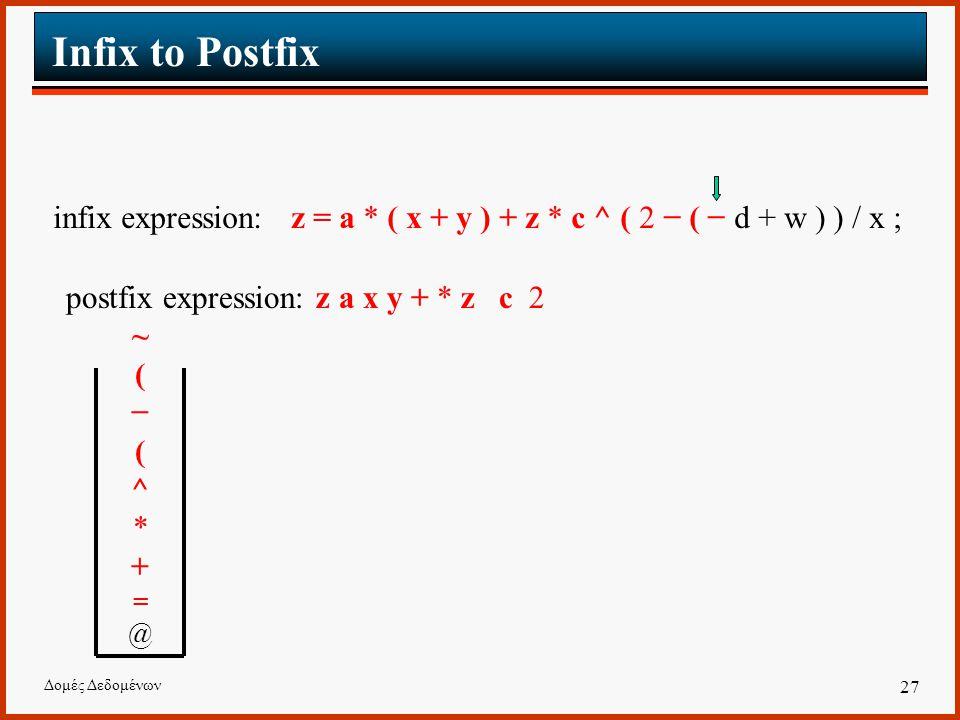 Δομές Δεδομένων 27 Infix to Postfix infix expression: z = a * ( x + y ) + z * c ^ ( 2 − ( − d + w ) ) / x ; postfix expression: z a x y + * z c 2 ~(−(^*+=@~(−(^*+=@