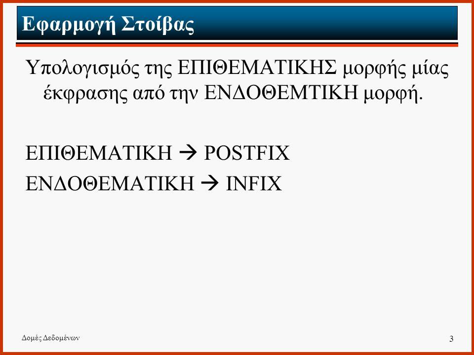 Δομές Δεδομένων 3 Εφαρμογή Στοίβας Υπολογισμός της ΕΠΙΘΕΜΑΤΙΚΗΣ μορφής μίας έκφρασης από την ΕΝΔΟΘΕΜΤΙΚΗ μορφή.