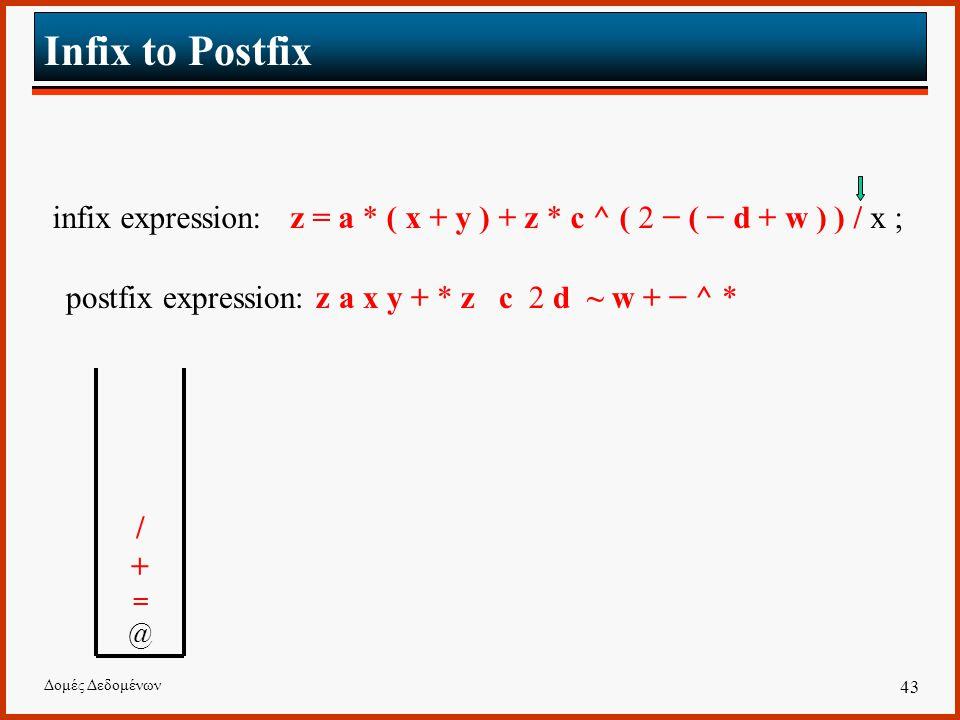 Δομές Δεδομένων 43 Infix to Postfix infix expression: z = a * ( x + y ) + z * c ^ ( 2 − ( − d + w ) ) / x ; postfix expression: z a x y + * z c 2 d ~ w + − ^ * /+=@ /+=@